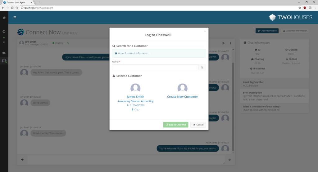 ConnectNow Cherwell Integration - Screen 2